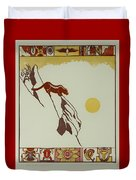 Moon Of Red Chokecherries Duvet Cover