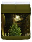 Moon On Fire Over Downtown Savannah Duvet Cover