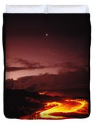 Moon Over Lava At Dawn Duvet Cover