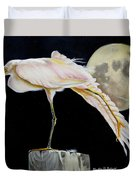Moon Over Mississippi A Snowy Egrets Perspective Duvet Cover