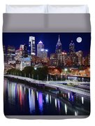 Moon Over Philly Duvet Cover