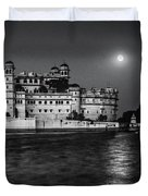 Moon Over Udaipur Bw Duvet Cover