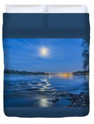 Moon Over Vistula River In Warsaw Duvet Cover