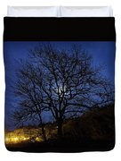 Moon Rise Behind Tree Silhouette At Night Duvet Cover