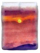 Moon Rise In Aquarelle Duvet Cover