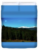 Moon Setting Into The Rocky Mountains Duvet Cover