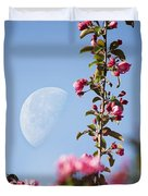 Moon Through The Crabapple Blossoms Duvet Cover