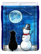 Moon Watching With Snowman - Christmas Cat Duvet Cover