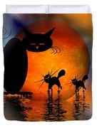 Mooncat's Catwalk Duvet Cover by Issabild -