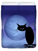 Mooncat's Loneliness Duvet Cover by Issabild -