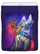 Moonlight Fairy And Her Horned Horse Duvet Cover