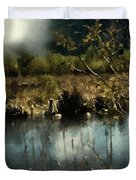 Moonlight On Canadian Lake Duvet Cover