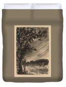 Moonlit Landscape With Tree At The Left Duvet Cover
