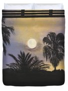 Moonlit Palms In Tampa Duvet Cover
