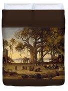 Moonlit Scene Of Indian Figures And Elephants Among Banyan Trees Duvet Cover