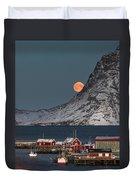 Moonrise In Reine Duvet Cover