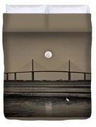 Moonrise Over Skyway Bridge Duvet Cover