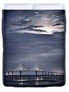 Moonrise Over Sunshine Skyway Bridge Duvet Cover by Steven Sparks