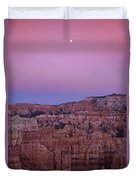 Moonrise Over The Hoodoos Bryce Canyon National Park Utah Duvet Cover