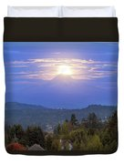 Moonrise Over The Top Of Mount Hood Duvet Cover