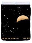 Moonset Over Depot Duvet Cover