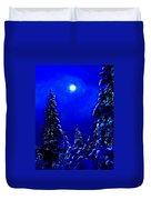 Moonshine On Snowy Pine Duvet Cover