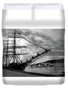 Moored At Hobart Bw Duvet Cover