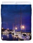Moored Sailboats Duvet Cover