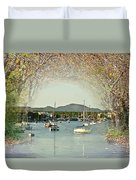 Moored Yachts In A Sheltered Bay Duvet Cover