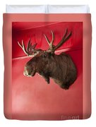 Moose Head Mounted On A Wall. Duvet Cover