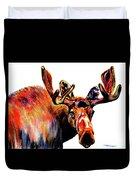 Moose In Orange Duvet Cover