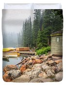 Moraine Lake And Boathouse Duvet Cover