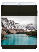 Moraine Lake In The Clouds Duvet Cover