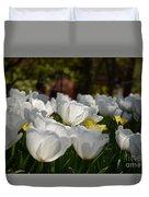 More White Tulips Duvet Cover