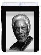 Morgan Freeman Charcoal Portrait Duvet Cover