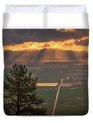 Morning Angel Lights Over The Valley Duvet Cover