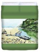 Morning At Porto Novo Beach Duvet Cover