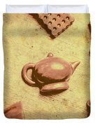 Morning Breakfast Chocolate Tea Set  Duvet Cover