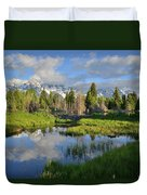 Morning Clouds Over Tetons Duvet Cover