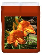 Morning Daylilies Duvet Cover