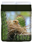 Mourning Dove Nest In A Cactus Duvet Cover