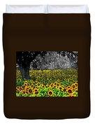 Morning Doves And The Sunflower Field Duvet Cover
