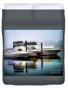 Morning Fog At Boothbay Duvet Cover