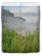 Morning Fog On Glacial Park Pond Duvet Cover