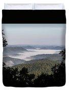 Morning Fog On Pine Mountain Duvet Cover