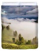 Morning Fog Over Yellowstone Duvet Cover