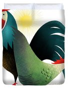 Morning Glory Rooster And Hen Wake Up Call Duvet Cover