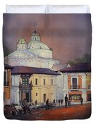 Morning In The Plaza- Quito, Ecuador Duvet Cover