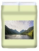 Morning Light Hitting The Docks At Doubtful Sound In New Zealand Duvet Cover