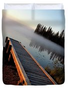 Morning Mist Over Lynx Lake In Northern Saskatchewan Duvet Cover